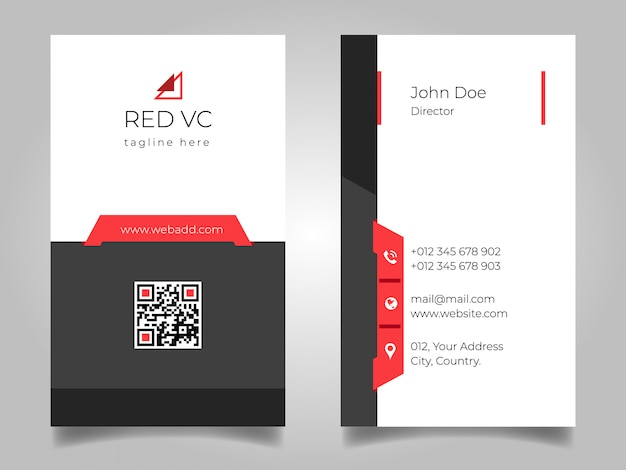 Black red vertical business card