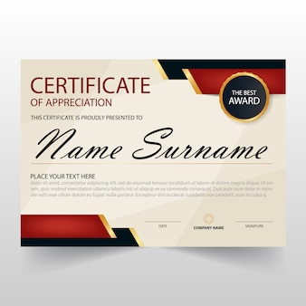 Black and red vintage horizontal certificate of appreciation