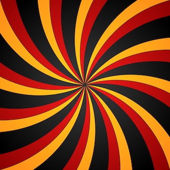 Black, red and yellow spiral swirl radial background. vortex and helix background.