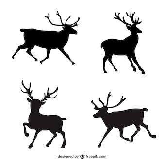 Черные силуэты оленей