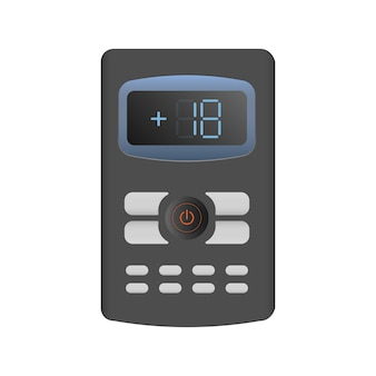 Black remote control from the air conditioner 3d. realistic vector remote control. isolated on white background.
