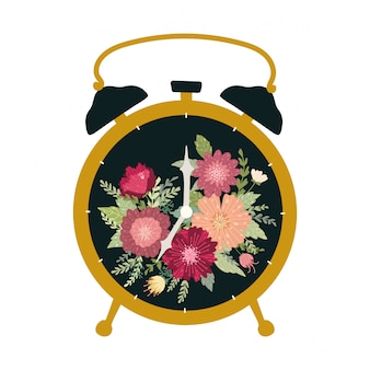 Black retro alarm clock isolated on white background. beautiful vintage table clock with flowers.