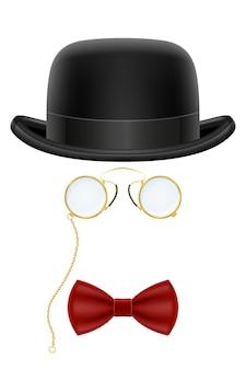 Черный ретро котелок с очками и галстуком-бабочкой на белом фоне