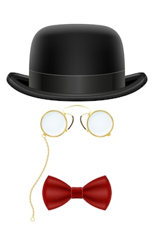 Black retro bowler hat with glasses and bow tie  illustration isolated on white background