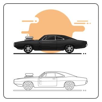 Black retro car easy editable