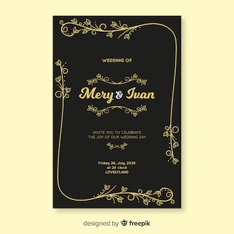 Black retro wedding invitation template