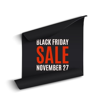 Black rfriday curved paper banner. ribbon. black friday sale.  illustration.