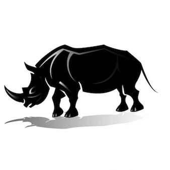 Black rhinoceros vector clip art