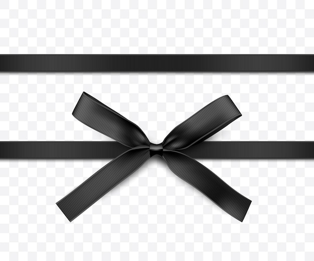 Черная лента и лук изолированное векторное украшение для подарочных карт для подарочных коробок или баннеров