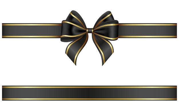 ゴールドの縁取りが施された黒いリボンとリボン