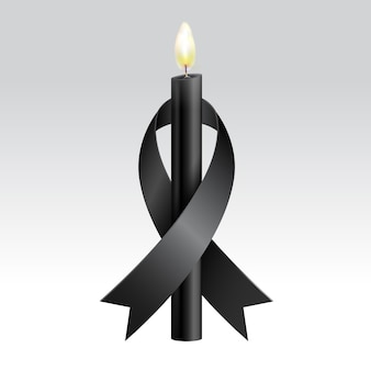 Black ribbon & black candles mourning