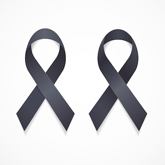 Black ribbon mourning and melanoma sign set support symbol. vector illustration