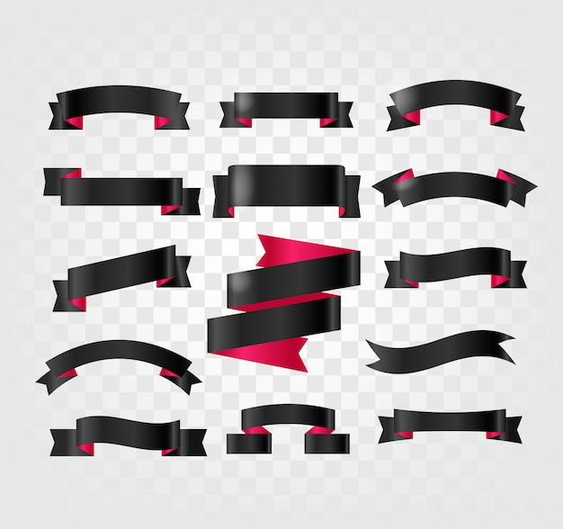 Black ribbons clipart isolated on transparent