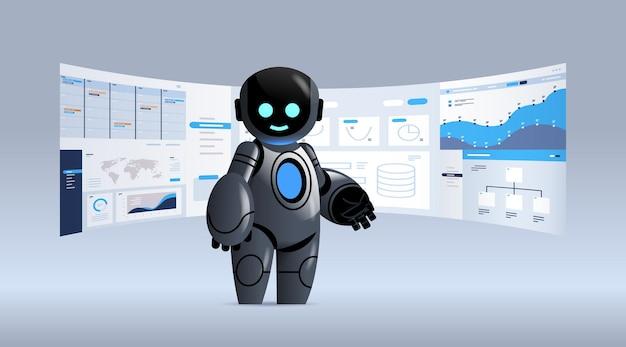 Черный робот анализирует статистику финансовые данные на виртуальных досках технология искусственного интеллекта