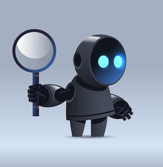 Black robot holding magnifying glass data search artificial intelligence