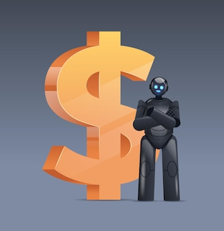 Black robot near dollar icon saving money and getting profit high income investment earning financial growth artificial intelligence