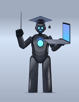 Black robot teacher in graduation cap holding laptop online education artificial intelligence