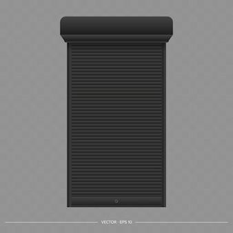 Black roller shutter on the euro window. realistic euro window with roller shutters vector.