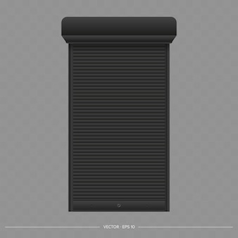 유로 창에 블랙 롤러 셔터입니다. 롤러 셔터 벡터가 있는 현실적인 유로 창.
