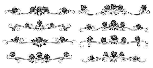검은 장미 꽃 테두리, 분배기 및 꽃 소용돌이. 단색 헤더, 벡터 복고풍 장식, 꽃 봉오리와 잎이 있는 빈티지 장미. 장식적인 고립된 삽화 세트