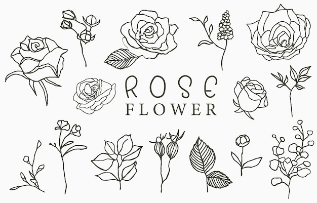 葉と黒いバラのロゴコレクション。アイコン、ロゴ、ステッカー、印刷可能なタトゥーのベクトル図