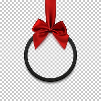 Black round banner with red ribbon and bow. brochure, greeting card or banner template.