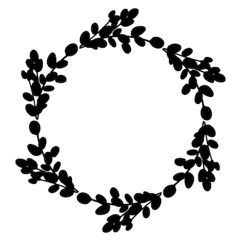 Черный круглый ботанический венок. векторная иллюстрация