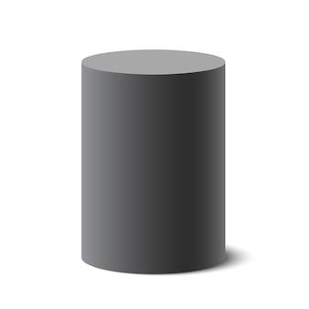 검은 둥근 상자. 실린더. 통. 삽화.