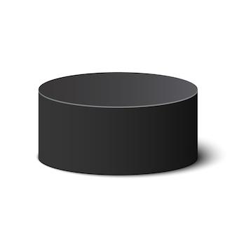 黒い丸い箱。パッケージ。シリンダー。図。