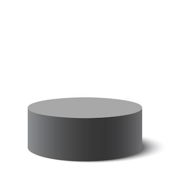 黒い丸い箱。パッケージ。図。