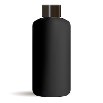 Black round cosmetic bottle mockup with black cap. cosmetics