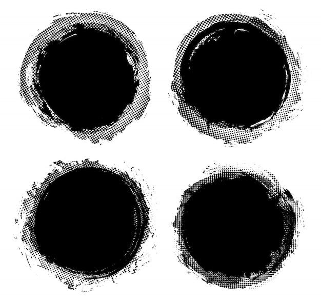 Black round frames in grunge style set