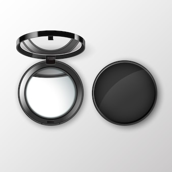 Black round pocket cosmetic make up small mirror isolated on white background
