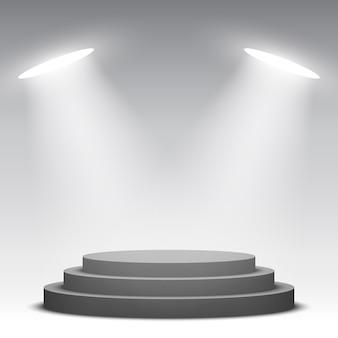 Черный круглый подиум с прожекторами. пьедестал. иллюстрации.