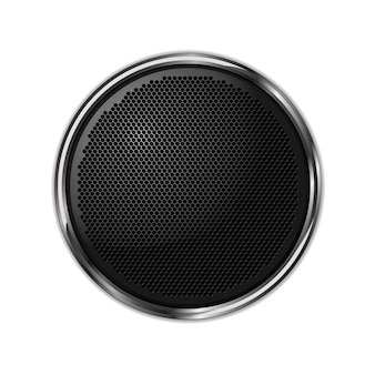 Black round speaker with a silver fram. isolated white background. isolated illustration. vector.