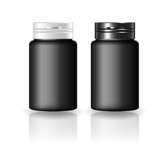 Black round supplements, medicine bottle with black-white cap lid mockup template. isolated on white background with reflection shadow. ready to use for package design. vector illustration.