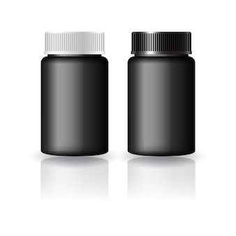Black round supplements, medicine bottle with black-white grooved lid mock up template. isolated on white background with reflection shadow. ready to use for package design. vector illustration.