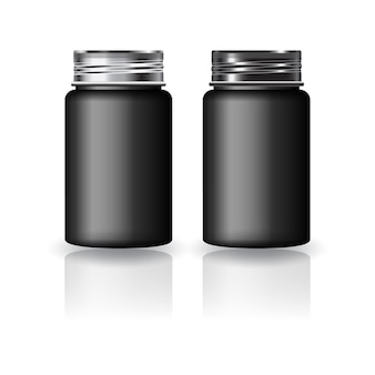 黒の丸いサプリメント、シルバーブラックのネジ蓋のモックアップテンプレートが付いた薬瓶。反射の影と白い背景で隔離。パッケージデザインにすぐに使用できます。ベクトルイラスト。