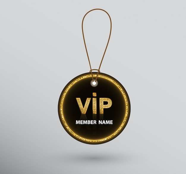 Black round vip badge hanging on string