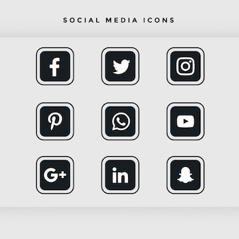 Black rounded social media icons set
