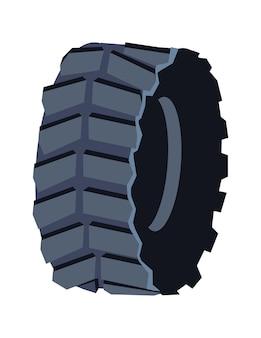 Черная резиновая шина для автомобильного транспорта, векторные иллюстрации шаржа, изолированные на белом