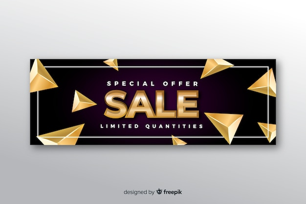 Black sales banner golden elements