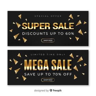 Black sales banner with golden details