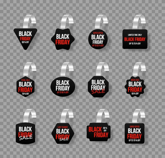Black sales tags wobblers with text vector discount sticker special offer.