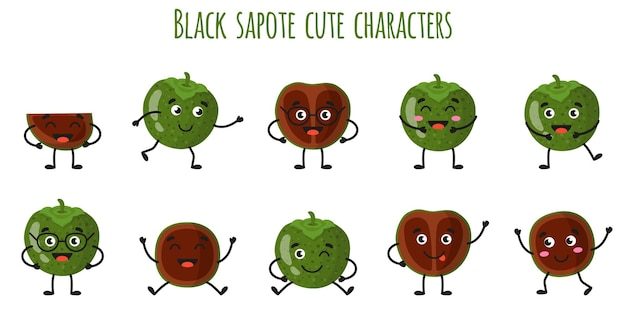 Black sapote fruit cute funny cheerful characters with different poses and emotions. natural vitamin antioxidant detox food collection.   cartoon isolated illustration. Premium Vector