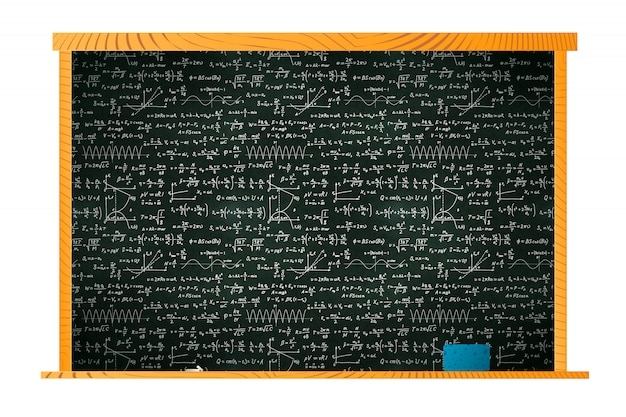 Черная школьная доска в деревянной рамке с множеством математических расчетов и губкой на полке на белом