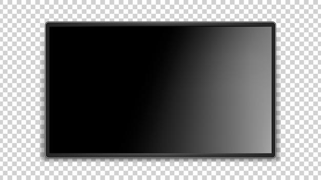 Черный экран. реалистичная глянцевая поверхность, темный тонкий светодиодный телевизор.