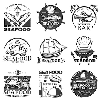 Black seafood emblem set with restaurant and market fresh seafood highest quality seafood fresh fish descriptions