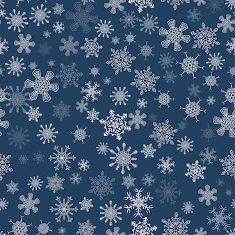 Black seamless christmas pattern with different snowflakes