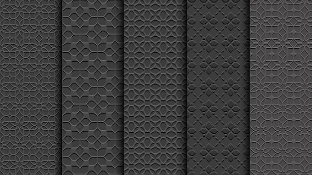 Black seamless floral patterns